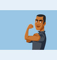 strong african man flexing arm vector image
