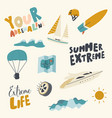 summer extreme icons set adrenaline activity vector image vector image