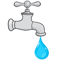 Water Faucet With Water Drop vector image vector image