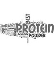 which is the best protein powder text word cloud vector image vector image