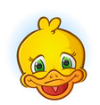 yellow rubber duck face cartoon vector image vector image
