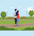 young couple walking together in green park vector image vector image