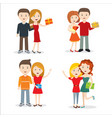 young people with gift flat style design vector image vector image