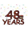 48 years anniversary celebration with flowers and vector image vector image