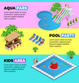 aquapark horizontal web banners with different vector image vector image