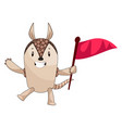 armadillo with flag on white background vector image vector image