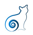 blue cat shape outline art icon vector image