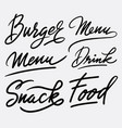 burger and menu hand written typography vector image vector image