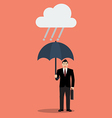 Businessman with umbrella in rain vector image vector image
