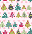 Christmas pattern - Xmas trees and snowflakes vector image vector image