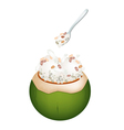 Coconut Ice Cream with Nuts and Pearl Barley vector image vector image