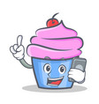 cupcake character cartoon style with phone vector image vector image