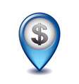 dollar symbol on mapping marker icon vector image vector image