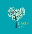 earth day heart shaped tree flat design vector image vector image