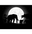 Elephant silhouettes with giant moon background vector image vector image