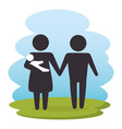 family members on park silhouette characters vector image vector image