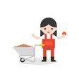 farmer and barrow wheel with tomato in flat design vector image