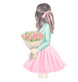 girl with tulips hand drawn fashion vector image
