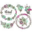 graphic set with beautiful flowers floral vector image vector image