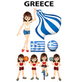 Greece flag and woman athlete vector image vector image