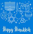 happy hanukkah celebration card with holiday vector image
