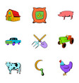 harvesting icons set cartoon style vector image vector image
