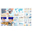 infographics and world map figures calculations vector image vector image