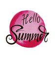 inscription hello summer on red background vector image vector image