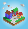 Isometric Colorful Houses on a Street vector image vector image