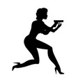 lady decided running with a gun silhouette woman vector image
