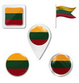 lithuania flag map and glossy button set vector image vector image