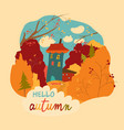 little house in autumnal forest vector image