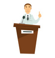 medicine lecture doctor giving speech on tribune vector image vector image