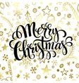 Merry Christmas lettering in golden seamless vector image vector image