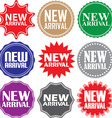 New arrival signs set new arrival sticker set vector image