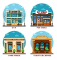 Pet shop and furniture store post office gym vector image vector image