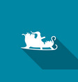 santa claus in a sleigh with a long shadow vector image