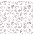 seamless pattern of hand drawn unicorns on white vector image