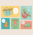 set cards with cute hand drawn sloths hanging vector image vector image