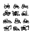 set icons of tractors farm and buildings machines