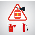 Set of Fire extinguishers isolated on silver backg vector image vector image