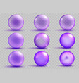 set of transparent and opaque purple spheres vector image vector image