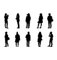 silhouette people stand set black men and women vector image vector image