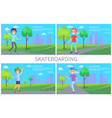 skateboarding banner set vector image vector image