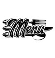 stylish lettering menu with set cutlery vector image vector image