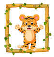 tiger on the wood frame with roots and leaf vector image vector image