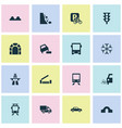 transport icons set with risk river beware and vector image vector image