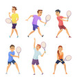 various tennis players characters in vector image vector image