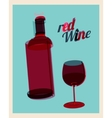 vintage poster bottle of red wine and glass vector image vector image