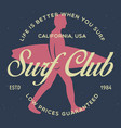 vintage surfing emblem for web design or print vector image vector image